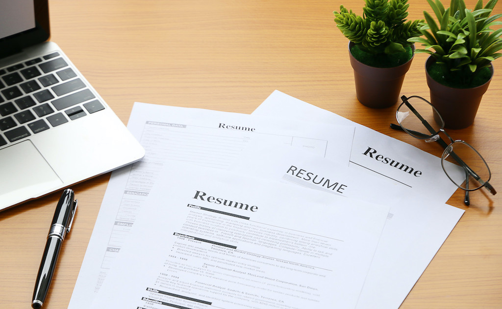 resume on table Office